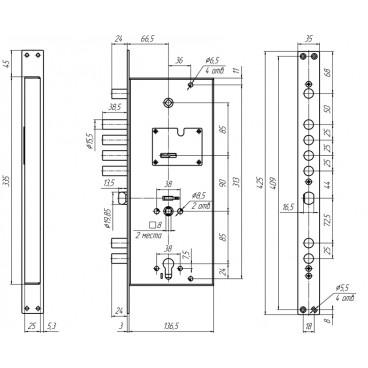 Замок врезной двухсистемный Меттэм ЗВ 13 374.0.1