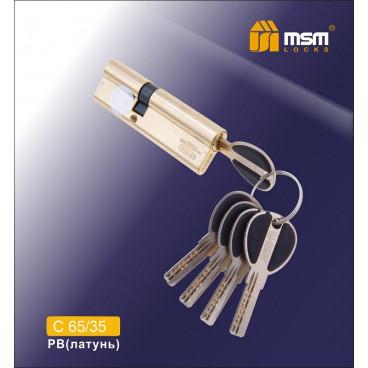 Цилиндровый механизм MSM-100мм (65-35) ключ-ключ латунь
