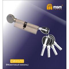 Цилиндровый механизм MSM-100мм (В45-55) ключ-вертушка никель