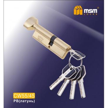 Цилиндровый механизм MSM-100мм (В55-45) ключ-вертушка латунь