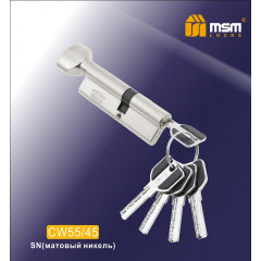 Цилиндровый механизм MSM-100мм (В55-45) ключ-вертушка никель