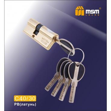 Цилиндровый механизм MSM-70мм (40-30) ключ-ключ латунь