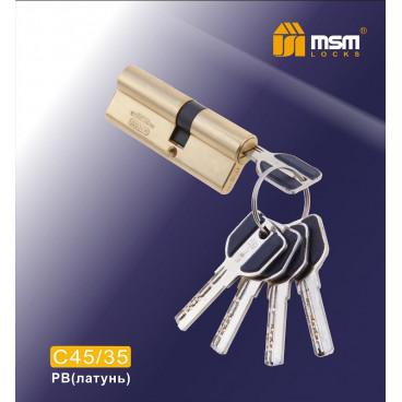 Цилиндровый механизм MSM-80мм (45-35) ключ-ключ латунь