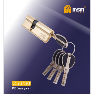 Цилиндровый механизм MSM-80мм (50-30) ключ-ключ латунь