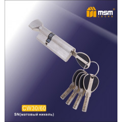 Цилиндровый механизм MSM-90мм (В30-60) ключ-вертушка никель