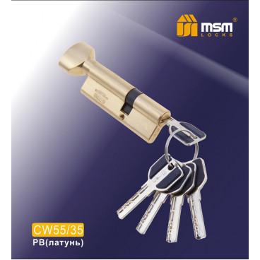Цилиндровый механизм MSM-90мм (В55-35) ключ-вертушка латунь