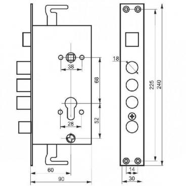 Замок врезной цилиндровый Master-lock 3024-3Р правый