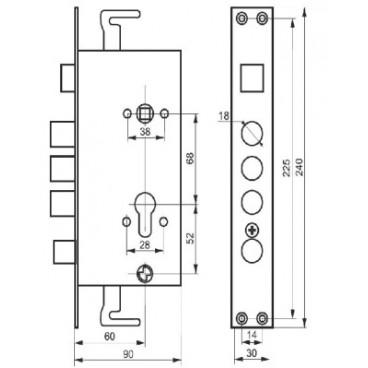 Замок врезной цилиндровый Master-Lock Левый 3024-3Р. Автомат