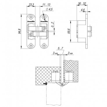 Петля скрытой установки с 3D-регулировкой Architect 3D-ACH 40 CP-8 Хром лев.40 кг