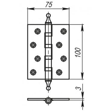 Петля универсальная 500-A4 100x75x3 AВ Бронза Box