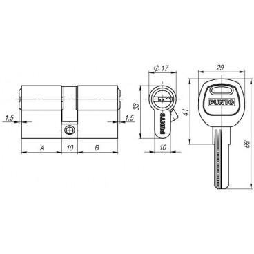 Цилиндровый механизм A200/90 mm (35+10+45) SN мат. никель 5 кл.