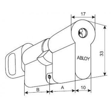 Цилиндровый механизм под вертушку Abloy Protec CY323N/116005 (36/36)