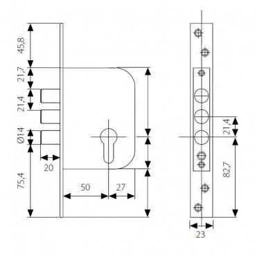 Замок врезной TESA R101B5SCAI (нержавеющая сталь) б/ц
