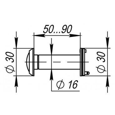 Дверной глазок Fuaro DVZ3, 16/200/50x90 AB Бронза