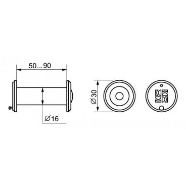 Дверной глазок Fuaro DVZ3, 16/200/50x90 GP Золото
