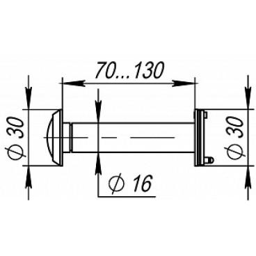 Дверной глазок Fuaro DVZ4, 16/200/70x130 CP Хром