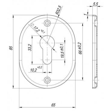 Декоративная накладка под цилиндр ESC 416 GP ЛАТУНЬ
