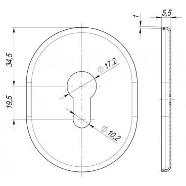 Декоративная накладка под цилиндр ESC 473 СP ХРОМ