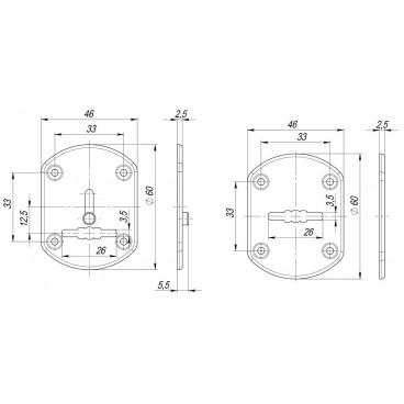 Декоративная накладка ESC021-CP-8 (ХРОМ) на сув. замок со шторкой (2 шт)