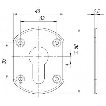 Декоративная накладка ESC031-GP-2 (ЗОЛОТО) на цилиндр (2 шт)