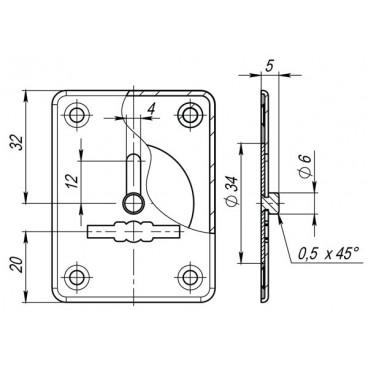 Декоративная накладка ESC081-CP-8 (ХРОМ) на сув. замок с шторкой (1шт) (нерж. сталь)