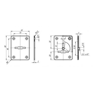 Декоративная накладка ESC081/082-ABG-6 (БРОНЗА) на сув. замок сталь (1 пара)