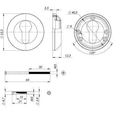 Накладка под цилиндр ET AR SN/CP-3, стяжной винт 65 мм