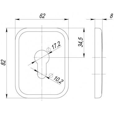 Декоративная Квадратная накладка на цилиндр ET-DEC SQ (ATC Protector 1) SC-14 Матовый хром