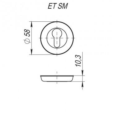 Накладка под цилиндр ET SM GOLD-24 золото 24К