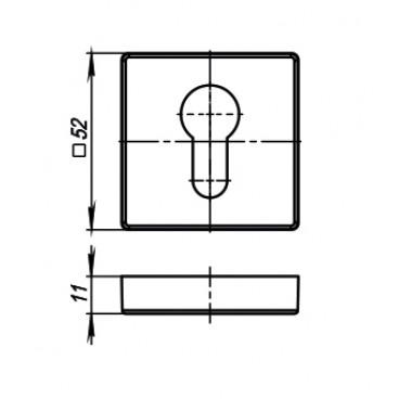 Накладка CYLINDER ET USQ SN-3 Матовый никель 2 шт