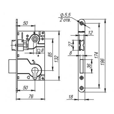 LH 25-50 CP BOX Замок межкомнатный под цилиндр. механизм 1ригель+защёлка (хром) с отв. планкой