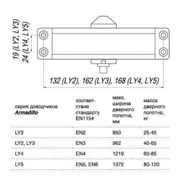 Доводчик дверной морозостойкий LY3 Armadillo 65 кг (коричневый)
