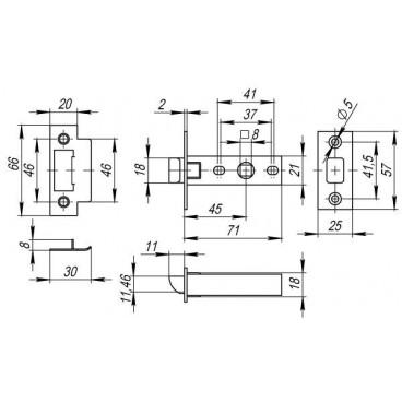 Защелка врезная PLASTIC P12-45-25 GP латунь