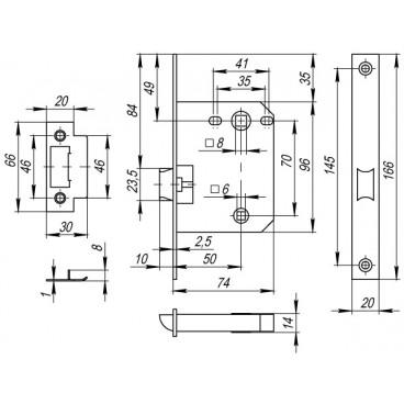 Защелка врезная PLASTIC P72-50 AC медь