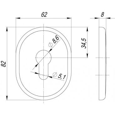 Декоративная накладка на цилиндр ET-DEC (ATC Protector 1) SC-14 Матовый хром
