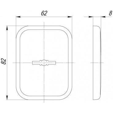Декоративная Квадратная накладка на сувальдный замок PS-DEC SQ (ATC Protector 1) SC-14 Матовый хром
