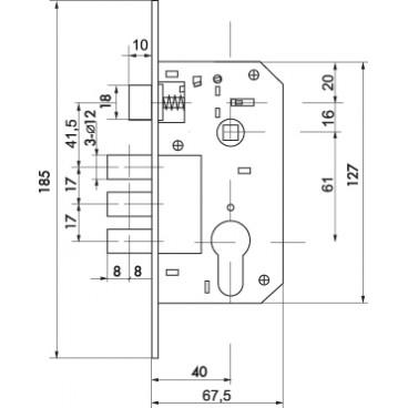 Корпус замка в комплекте с ручкой SET F1511W/B CP