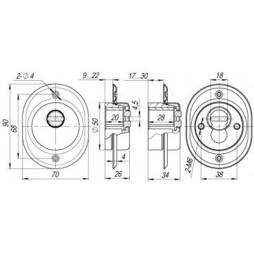 Броненакладка на цилиндр Armadillo ET/ATC-Protector 2-25CP-8 Хром box