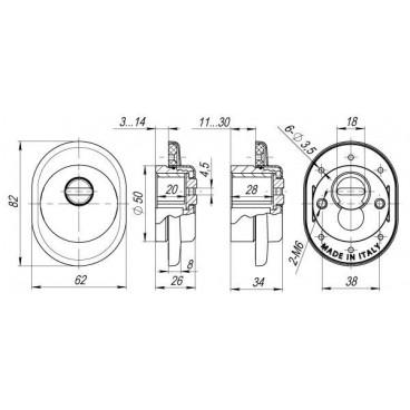 Броненакладка на цилиндр Armadillo ET/ATC-Protector 1-25SC-14 Матовый хром box