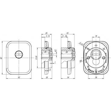 Броненакладка на цилиндр Armadillo ET/ATC-Protector 1-25(SQ) SN-3 Мат.никель box
