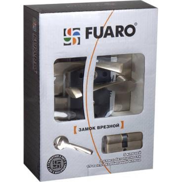 Замок врезной Fuaro цилиндровый с защёлкой в комплекте с ручкой SET F9013 SN/CP