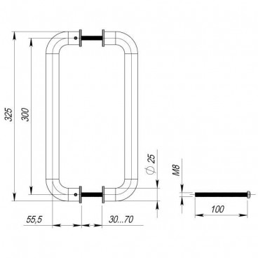 Ручки-скобы Fuaro PH-21-25/300-INOX