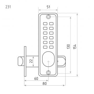 Кодовый замок Нора-М 231 (матовый хром)