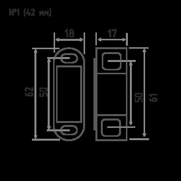 Защёлка магнитная Нора-М №1 (62мм) (коричневая)