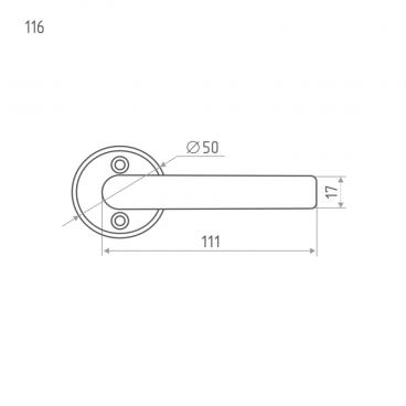 Ручка для финских дверей Нора-М 116 AL (золото)