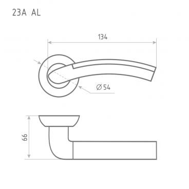 Ручка дверная Нора-М AL 23А AL (матовый хром/хром)