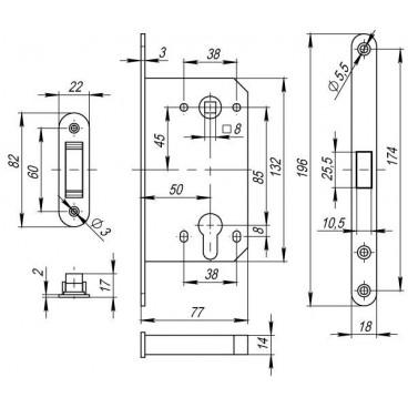 Корпус замка MAGNET M85C-50 CP хром