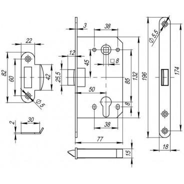 Корпус замка PLASTIC P85C-50 AB бронза