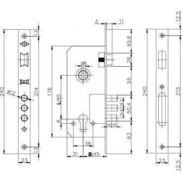Корпус замка врезного цилиндрового Kale 152/3MR (45 mm) w/b (никель)