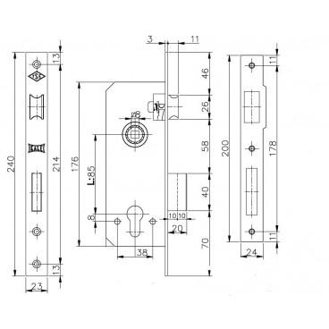 Корпус замка врезного цилиндрового Kale 152/R (35 mm) w/b (латунь)